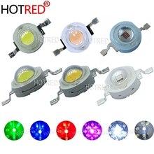 500 sztuk 1W 3W wysokiej dioda led dużej mocy dioda emitująca światło Chip SMD ciepły biały czerwony zielony niebieski żółty RGB dla SpotLight Downlight lampa żarówka