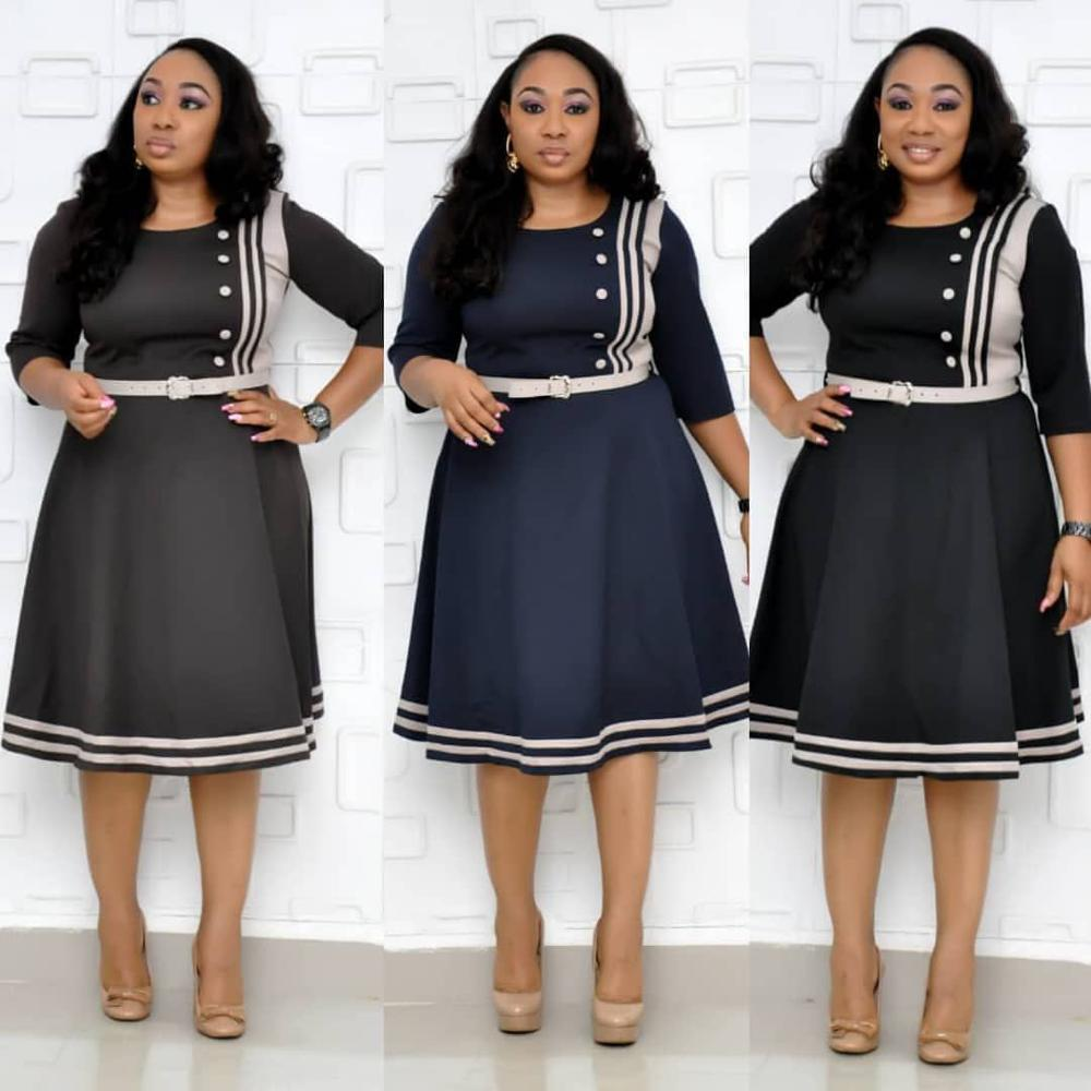 2019 Autumn Winter New African Dresses For Women Dashiki Vetement Femme Middle Sleeves Dresses Fashion  Printed Dress