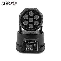 Djworld LED 7X18W Luz de lavado RGBWA + UV 6in1 luz con cabezal móvil para escenario DMX Luz de escenario DJ Nightclub fiesta concierto escenario profesional