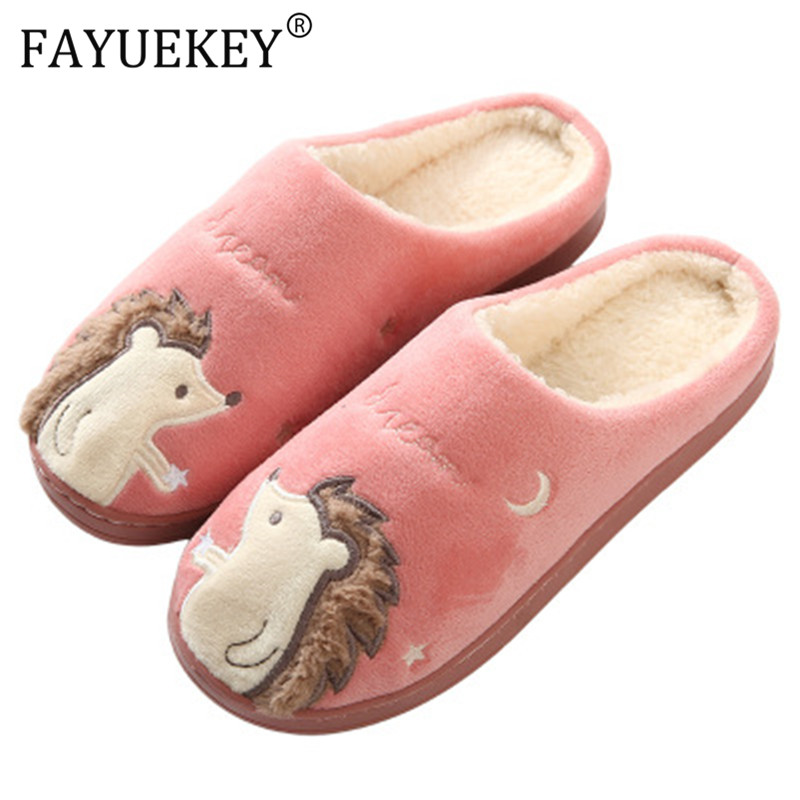 Women Slippers Cartoon Hedgehog squirrel Unicorn Slippers Winter Non-slip Fur House Indoor Outdoor Plush Ladies Shoes Men Couple