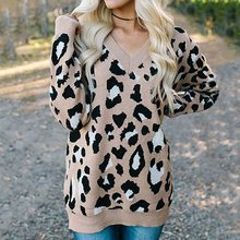 Leopard Print Sweaters Women Tops Autumn Knitwear Long Sleeve Pullovers Fashion V Neck Winter Knitted Sweater Girl 2019 Hot Sale