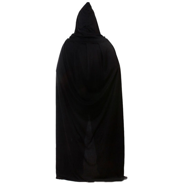 Halloween Costume Adult Death Cosplay Costumes Black Black Hooded Cloak Scary Witch Devil Role Play Cosplay Long Black Cloak New