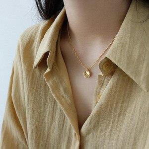 Image 5 - LouLeur 925 Sterling Silver podwójny naszyjnik w kształcie serca ins stylowe złoty wisiorek romantyczny naszyjnik dla kobiet moda elegancka biżuteria na prezent