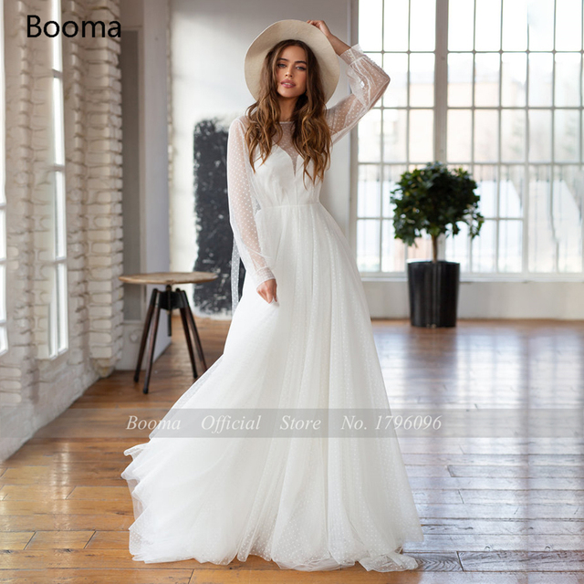 Booma Polka Dots Tulle Beach Wedding Dresses O-Neck Long Sleeves Sheer Neckline Bride Dresses Backless A-Line Bridal Gowns 5