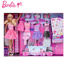 Genuine Barbie Doll Design Gift Box Dressup 5 Dress Multiple Accessories Fun Looks Educational Fashion Girl Toys for Kids