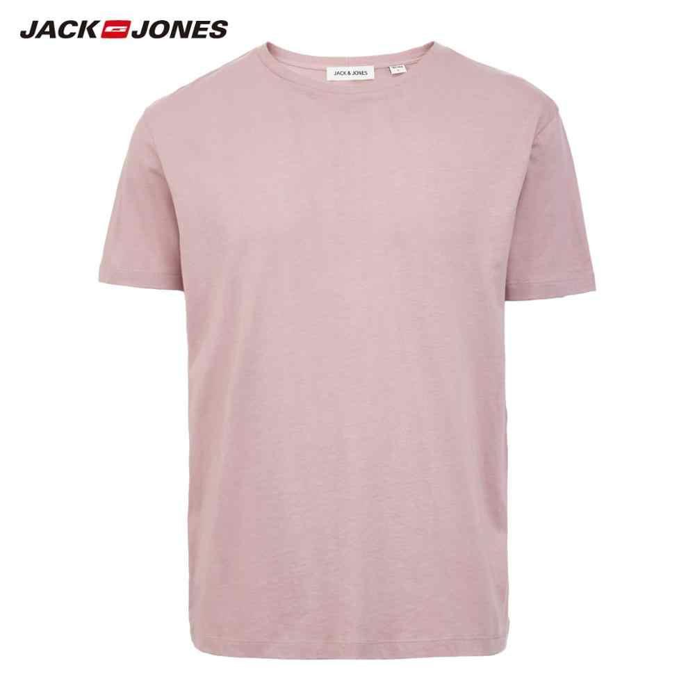 JackJones 남자 코 튼 t-셔츠 솔리드 컬러 아이스 쿨 터치 패브릭 남자 기본 패션 t 셔츠 잭 존스 tshirt 220101546