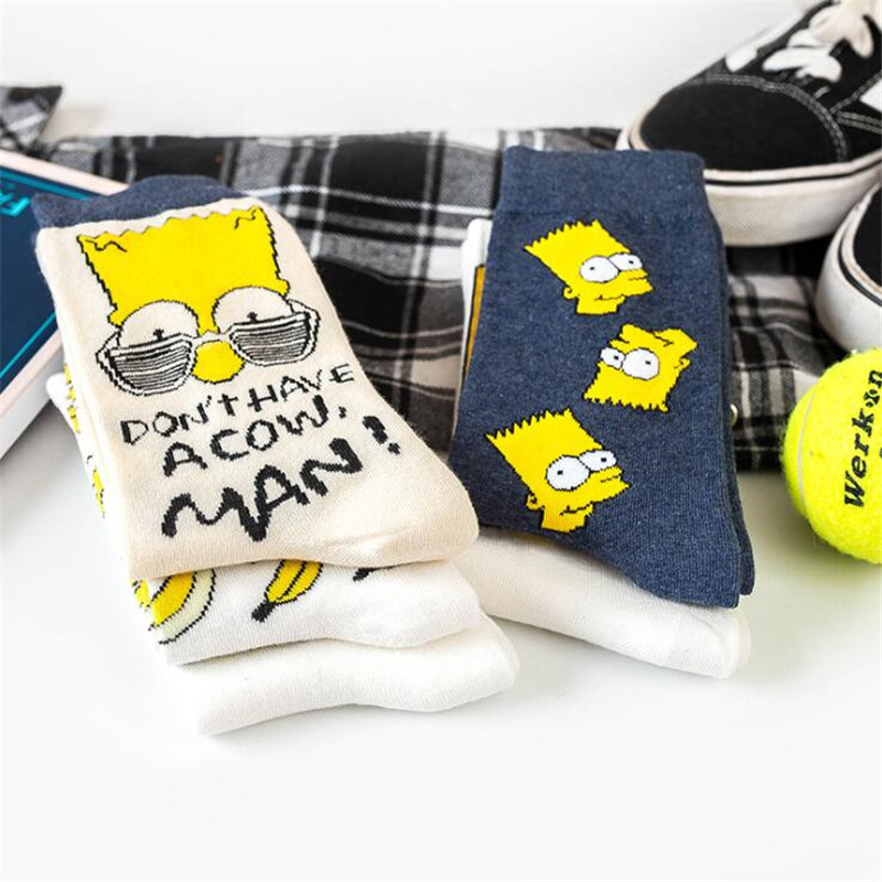 New Autumn Winter Cartoon Couple Socks Funny Simpson Heart Cotton Socks Banana Fashion Casual Harajuku Socks Female Streetwear