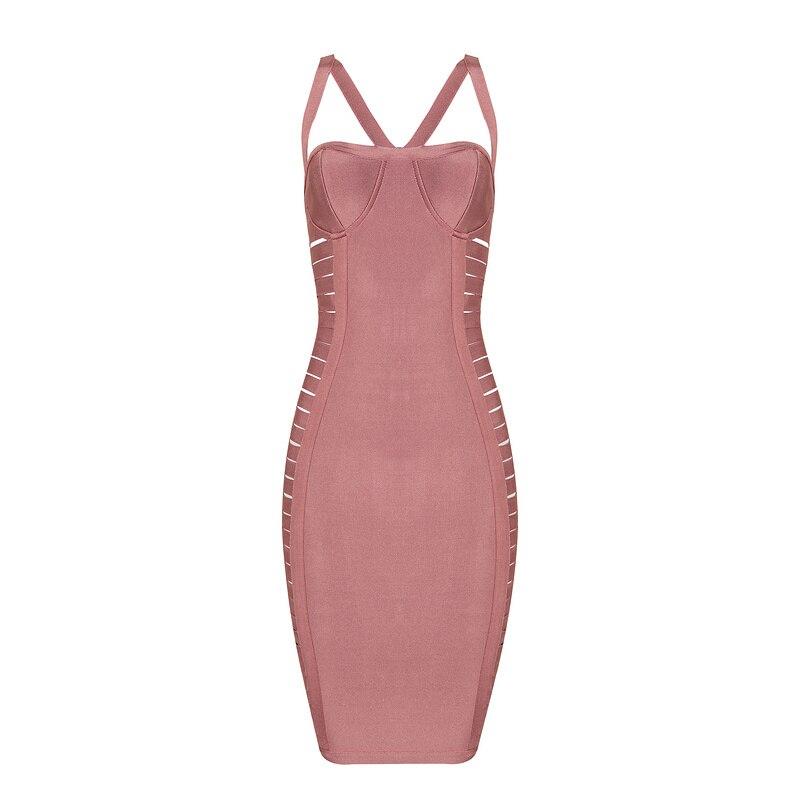Сексуальное женское платье, хит продаж, длина до колена, розовый, черный цвет, Одноцветный ремешок, тонкое Бандажное платье, сексуальное веч... - 5