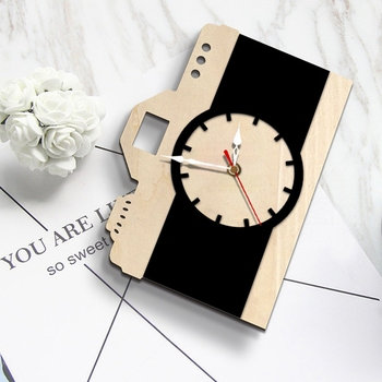 New Cute Battery Powered Digital Camera Style Table Clock Alarm Wall Clock Black