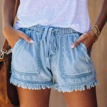 Pantalones cortos vaqueros para Mujer, pantalón Corto de cintura media con cordones y borla azul, pantalón Corto de Mujer, Bermudas de verano, pantalón tipo malla para Mujer, Denim