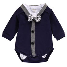 Imcute 2pcs Newborn Baby Boy Jumpsuit Clothes Gentleman Bow Cardigans Sweatshirt Coat+Long Sleeve Romper Outfits 0-18M