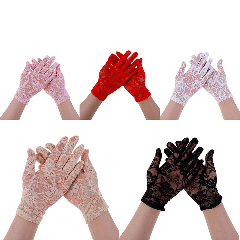 1Pair Female Sexy Lace Driving Gloves Spring And Summer Women's Thin Lace Sunscreen Gloves Lady's Short Uv Protection Gloves
