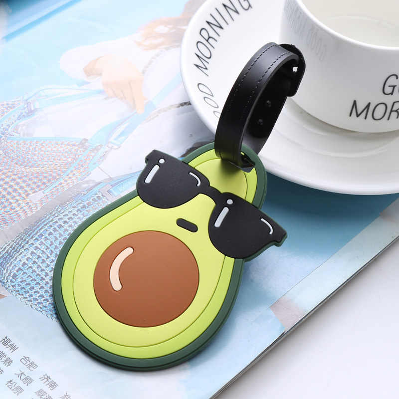 Avocado Einhorn Reise Zubehör Cartoon Silikon Gel LuggageTag Koffer ID Adresse Halter Internat Tag Tragbare Label