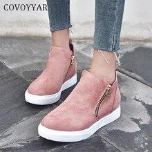 COVOYYAR 2020 Spring Women Shoes Flat Casual Fashion Sneakers Zipper Platform Fl
