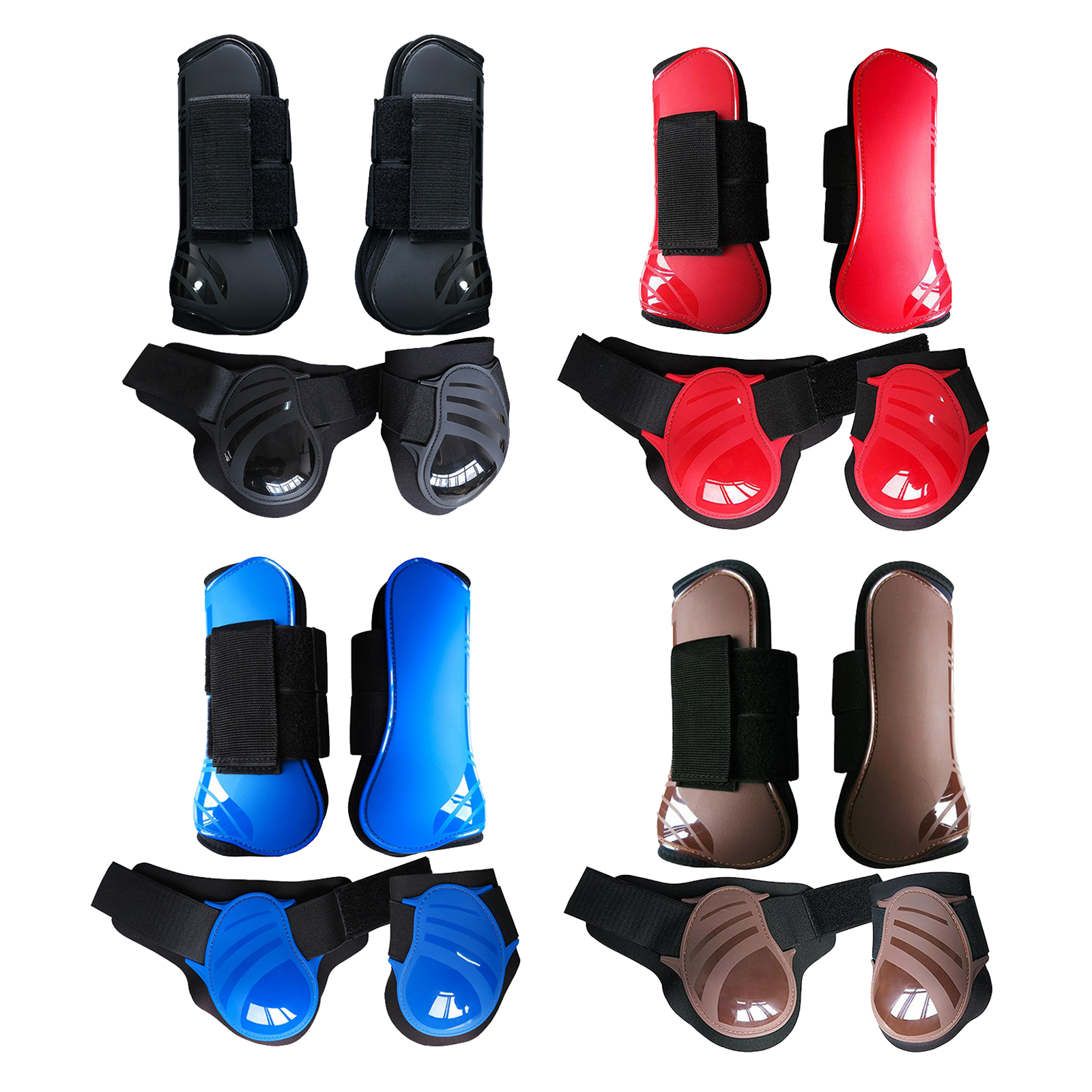 2 Pairs Horse Leg Guard Boots Front Hind Leg Tendon Protect Equestrian for Riding Training, PU Shell and High-Quality Neoprene