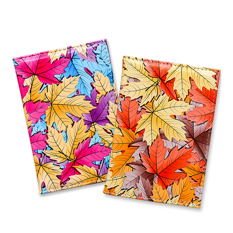 Colorful Maple Leaf Pattern Passport Cover Waterproof Passport Holder Soft Leather Travel Passport Holder Case Card ID Holders