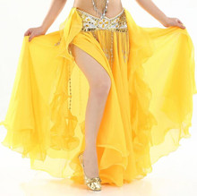Chiffon Fairy Belly Dance Skirt for Women Belly Dancing Costume Two Side Split Tribal Maxi Full Skirts Voile