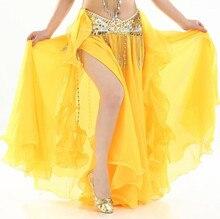 ชีฟองFairy Belly Danceกระโปรงผู้หญิงเต้นรำหน้าท้องสองด้านแยกเผ่าMaxiกระโปรงVoile