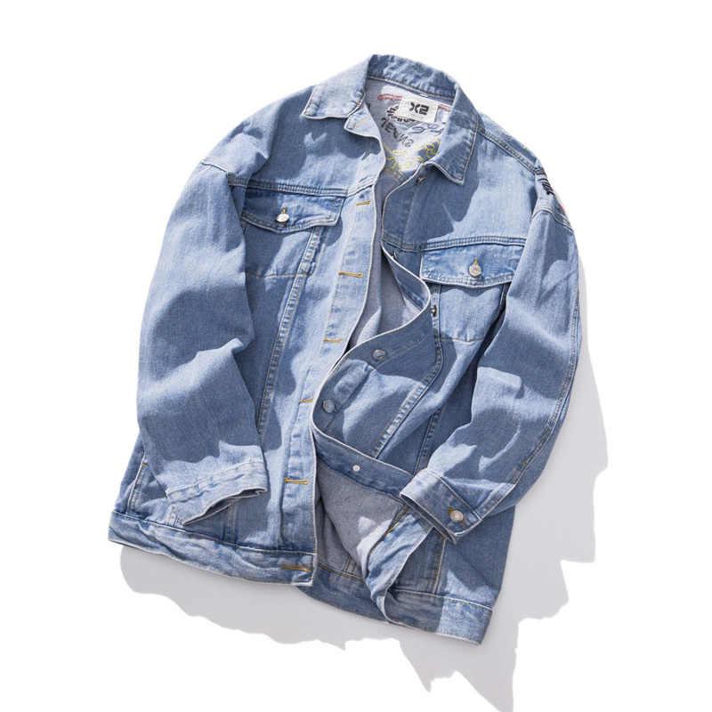 Plus Ukuran Jaket Jeans Wanita 2019 Fashion Bordir Musim Gugur Denim Jaket Single-Breasted Pendek Longgar Mantel untuk Wanita