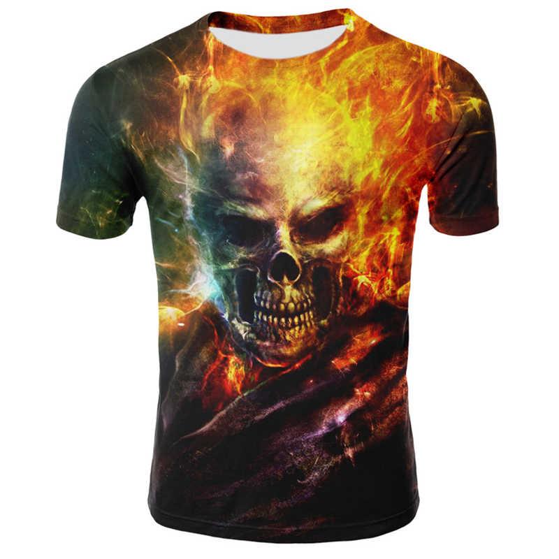 여름 O 넥 해골 T 셔츠 남성 짧은 소매 힙합 티즈 록 스타일 Streetwear 3D 인쇄 티셔츠 남자