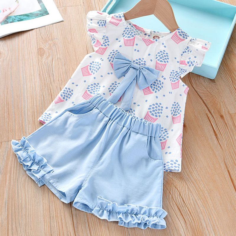 Hb8b5b2e593e54ef8a42695dac25fb17cZ Humor Bear Girls Clothing Set 2020 Korean Summer New Ice Cream Bow T-shirt+Pants Kids Suit Toddler Baby Children's Clothes