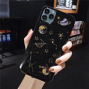 Image 3 - גליטר כוכב כוכבים ירח חלל טלפון מקרה עבור iPhone 11 פרו מקסימום X XS XR 12 מיני 6 6S 7 8 בתוספת שקוף רך אפוקסי חזרה כיסוי