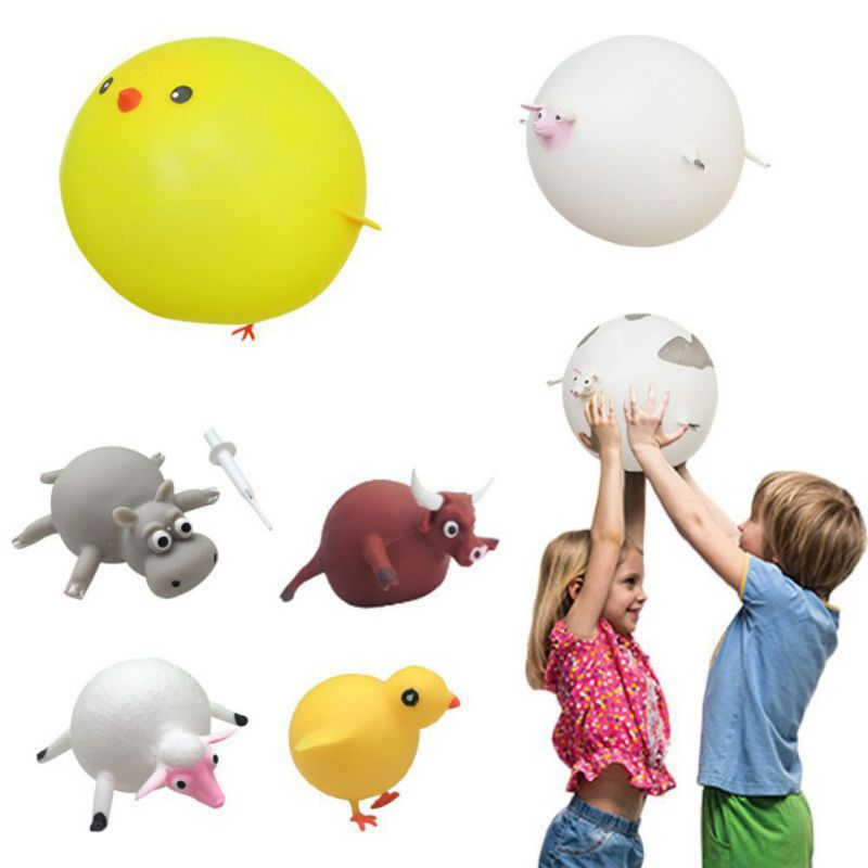 Children Funny Blowing Animals Toys Dinosaur Anxiety Stress Relief Inflatable Balloon Squeeze Ball Kids Toy Random Style