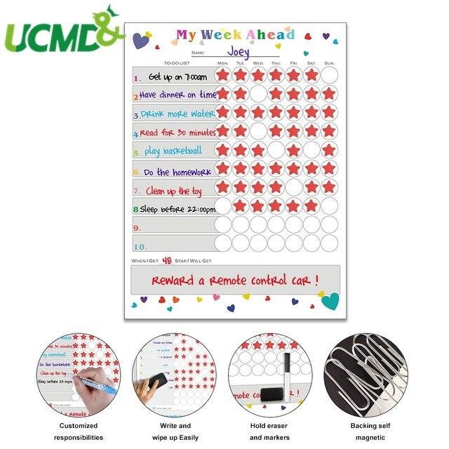Magnetic WhiteBoard Kids Schedule for Fridge Sticker Weekly Planner To Do List Notepad Message Board Reward chart Art Sticker