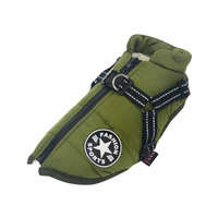 Green-Large Pet Dog Jacket With Harness Winter Warm Dog Clothes