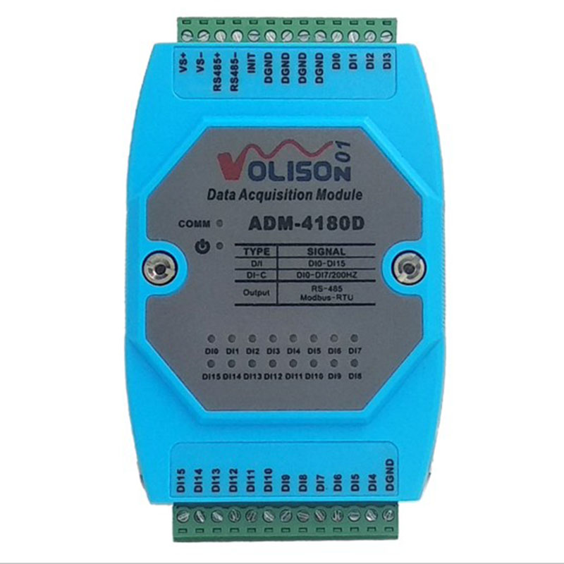 ADM-4180D 16DI Isolated Digital / 16-channel Switching Acquisition Module MODBUS-RTU RS485 Communication