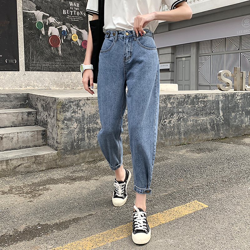 Jeans Woman Casual Harem Jeans  Streetwear Denim Pants Trousers Slouchy Jeans Cotton White Jeans For Women High Waist Harem Blue