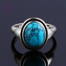 Charms 8x10MM Turquoise Woman Wedding Rings 925 Silver Jewelry Girls Female 's Party Anniversary Birthday Present Wholesale(China)