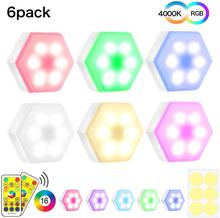 6pcs Dimmable LED Night Lights Colorful Quantum Lamp Modular Touch Sensitive Hexagon Wall Lamp Bedroom RGBW Under Cabinet Lights