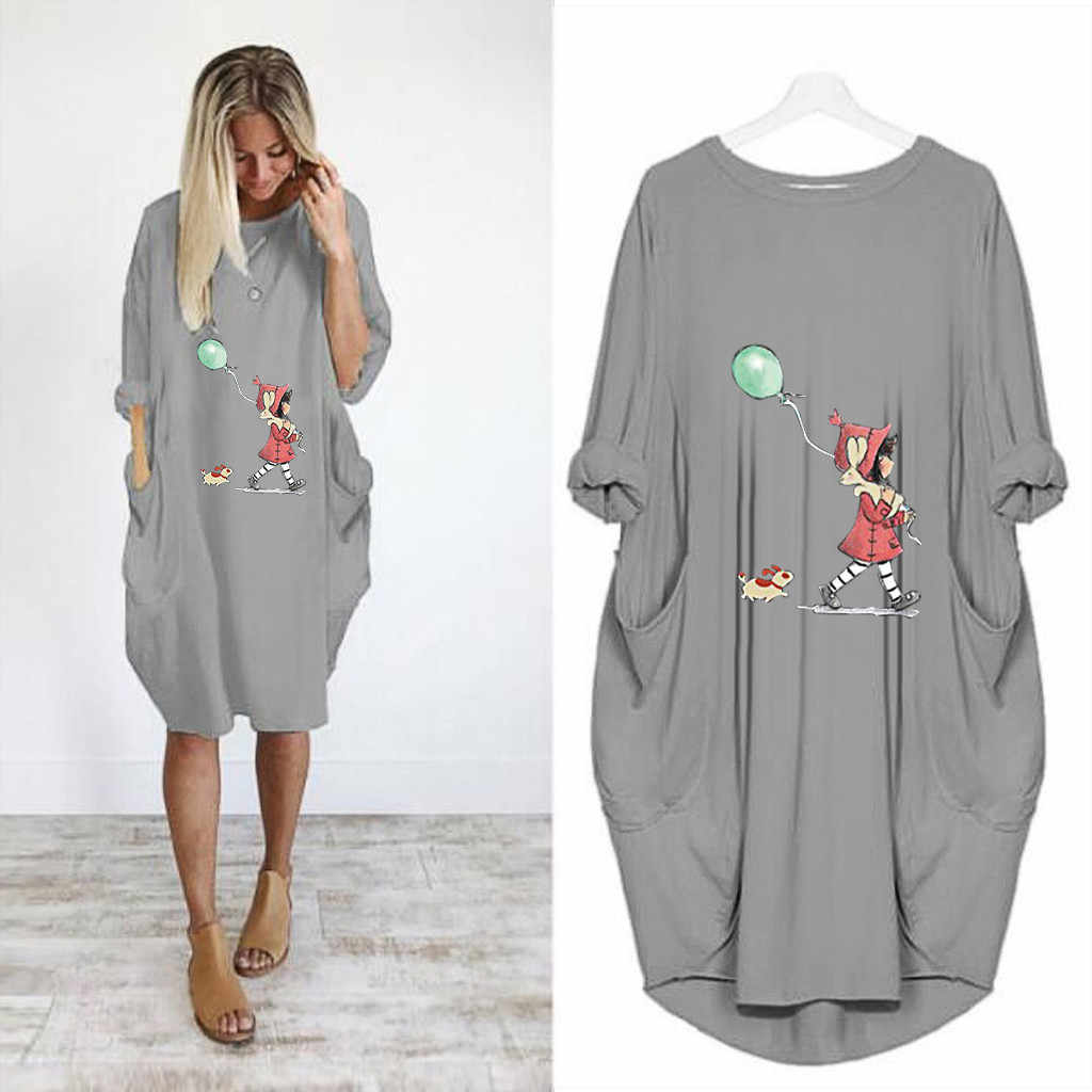 חולצה שמלת נשים מקרית Loose הדפסת כיס קצר שרוול בתוספת גודל שמלות 2019 סתיו גבירותיי O-צוואר ארוך חולצות חולצה קיצית