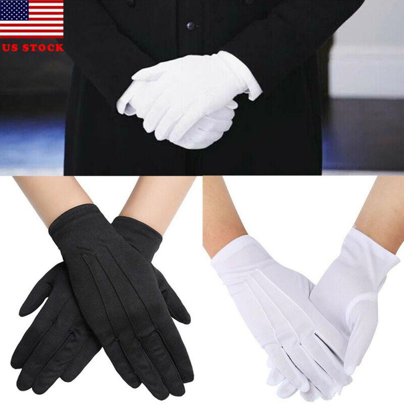 1Pair Spring Summer Gloves Men Women Black White Etiquette Thin Stretch Gloves Dance Tight White Jewelry Gloves