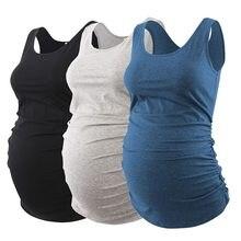 Camisetas sin mangas de embarazo para mujer, ropa de maternidad informal de lado fruncido, paquete de 3 uds.