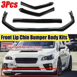 New 3Pcs Car Front Bumper Splitter Lip Chin Bumper Spoiler Diffuser Body Kits Cover Trim Protection For Subaru WRX STI 2015-2019