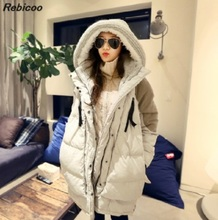 Lowest price New 2016  fashion parkas Hooded women thick Military coat jacket long section cotton winter female down jackets