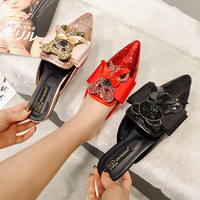 New Design Women Slippers Mules Shoes Slip On Low Heels Flat With Women Shoes Pointed Toe Bling Rhinestone Panda Bow Female Shoe
