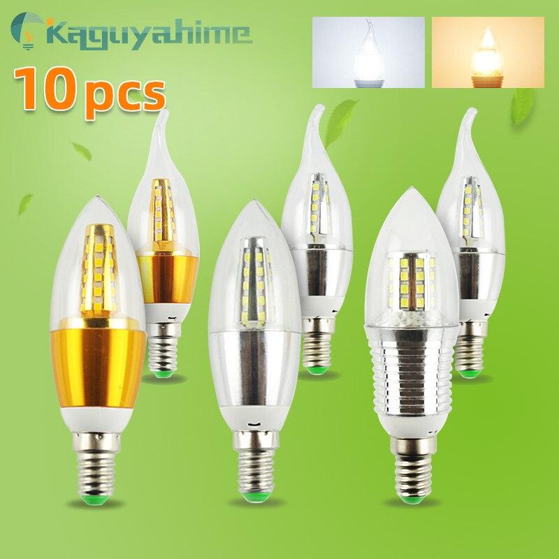 =(K)= 10 светодиодный т. светодиодных ламп E14, 220 В, 7 Вт, 9 Вт, 12 Вт, золотистая, серебристая, алюминиевая Свеча светильник хрустальной люстры, ламп...