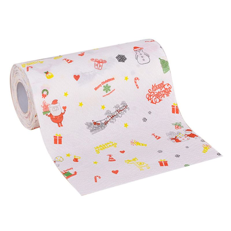 Christmas Disposable Kitchen Paper Towel Roller Cute Cartoon Elk Santa Snowman Printed Dishes Cleaning Tissue Gadgets