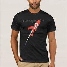 Moda Cool hombres camiseta mujer divertida camiseta Tintin destino Luna Rocket personalizzado impreso camiseta