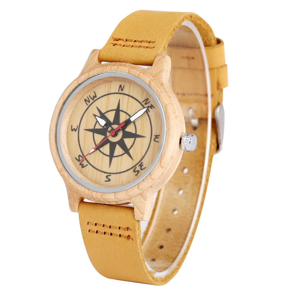 Light Brown Leather Band Wooden Watches For Women Unique Compass Design Pattern Dial For Men Luminous Pointers Relojes De Mujer