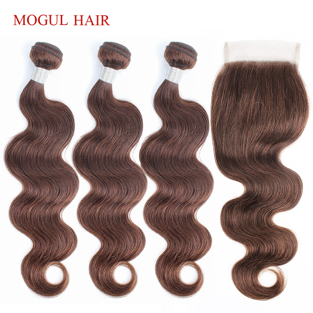 MOGUL HAIR Brazilian Body Wave Bundles With Closure 3/4 Bundles Color 4 Chocolate Brown Non Remy Human Hair Extension 10-24 Inch