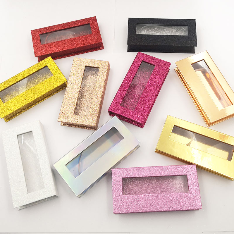 20 Pcs Wholesale False Eyelashes Packaging Box Custom Logo Mink Lashes Boxes Cils Strip Magnetic Case Empty Empty Eyelash Case