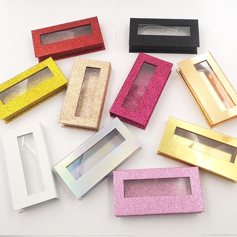 20pcs Wholesale False Eyelashes Packaging Box Custom Logo Mink Lashes Boxes Cils Strip Magnetic Case Empty Empty Eyelash Case