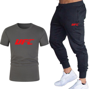 Fashion New Brand 2020 Men's Printing T-shirt + Trousers Sports Suit Gym Running Clothes Fitness Sports Casual Wear Two Sets