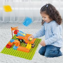 Marble Race Run Block for Kids Big Size Compatible Duploed Building Blocks Plastic DIY Assembly Bricks Toys for Children Gifts marble run blocks compatible duploed building blocks funnel slide blocks legoinglys train car diy bricks toys for children gift