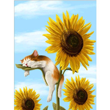 5D DIY Diamond Painting Sunflower Flower Embroidery Cross-stitch Full Circle Mosaic Home Gift