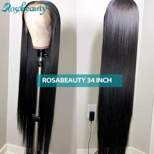 Image 1 - Rosabeauty 28 30 inç dantel ön İnsan saç peruk ön koparıp perulu düz % 250 yoğunluk ön peruk siyah